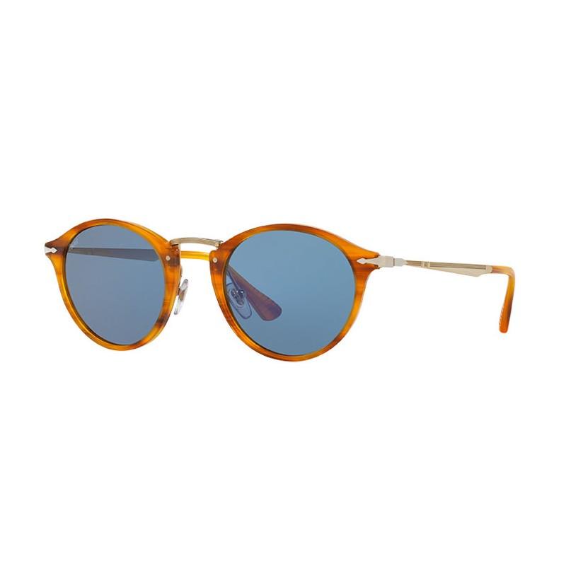 8de5d0cd7c434 Lunettes de soleil Persol 3166 Marron Rayé Verre  Bleu traitement ...