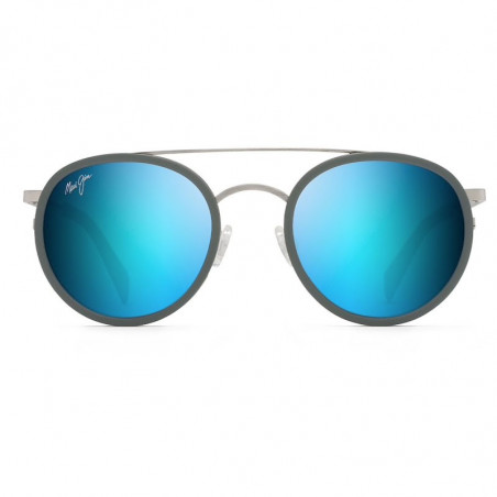 Maui Jim Even Keel Brushed Silver With Powder Blue
